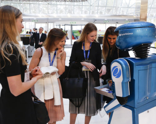 Promotional robot hire and rental, exhibition robot, Euro Finance