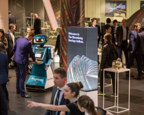 Promotional robot hire and rental, exhibition robot, Bloomberg